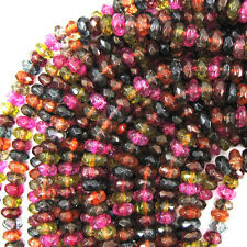 "6mm faceted watermelon tourmaline quartz rondelle beads 15"" strand"