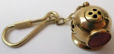 Solid Brass Key Chain Dive Diving Helmet with Red Lens for Charm #C-7