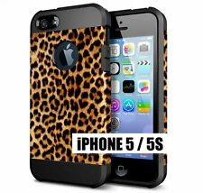 For iPhone SE 5S - HARD TPU RUBBER HYBRID SKIN CASE BROWN BLACK LEOPARD CHEETAH