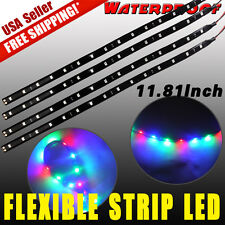 4x 15 30CM RGB LED Flexible Strip Underbody Light Waterproof For Car Truck Boat