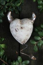 Fun White Devil Heart with tail Valentine Gift Ceramic Mexican Folk Art Pottery