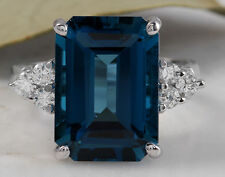 Estate 9.75ct Natural London Blue Topaz & Diamond 14K Solid White Gold Ring