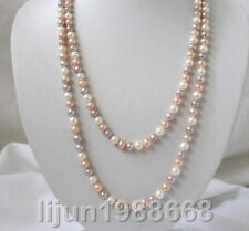 7-8mm blanc violet rose perles d'eau douce collier 50 ""