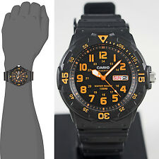 Casio MRW200H-4BV Men's Analog Watch 100m WR Orange Day Date Neo Display New