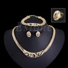 Fashion Rhinestone Women Necklace Bracelet Chain Earrings Ring Jewelry Gift Set