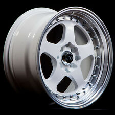 16x8 JNC JNC010 010 4x100/4x114.3 25 White Machine Lip Wheel New set(4)