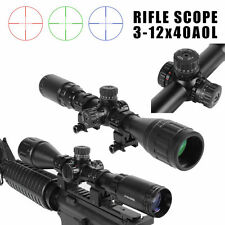 3-12X40AOL RGB Illuminated Tactical Optical Rifle Scope Dot Sight for Hunting