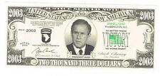 President George W Bush Novelty Bill Fun Money Note Political End Hussein Family