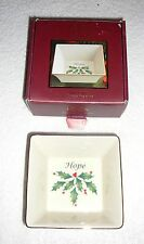 """LENOX Holiday Square Box~""""Hope""""~4&1/4 Inches~Gold Rim~NEW IN BOX~FREE SHIP"""