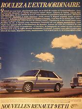 PUBLICITÉ 1986 NOUVELLES RENAULT 9 ET 11 TURBO - ADVERTISING
