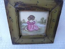 Little girl with lute musical instrument music  watercolor painting