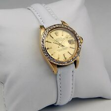 Ladies Rolex DateJust 6917 18 kt Yellow Gold White Strap sku 9645