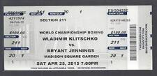2015 WLADIMIR KLITSCHKO vs BRYANT JENNINGS FULL UNUSED BOXING TICKET - @ MSG