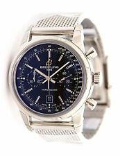 NEW Breitling Transocean Chronograph 38 Steel Black Dial Watch A4131012/BC06