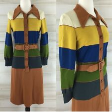 Vintage 60s Sebastian Italy wool knit mod striped mustard belted shirt dress S