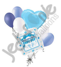 7 pc Baby Boy Birth Certificate Balloon Bouquet Party Shower Gender Reveal It's