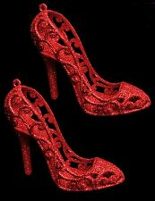 Red Glitter Shoes - Christmas Tree Decoration - Girly Decorations (DP216)