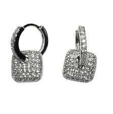 Dainty-Babies-Children Pave Clear CZ Square Charm Hoop Earrings Rhodium Plated