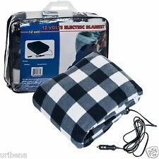 Plaid Electric Blanket Automobile 12V Checkered Blue Black 75-BP700 Trademark
