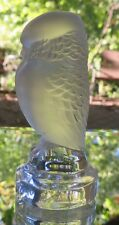 Lalique Crystal Frosted Rapace Owl Seal Figurine Mint France