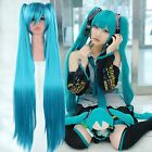 Long Blue Vocaloid Hatsune Miku Show Anime Cosplay Party Hair wig 2 Ponytails