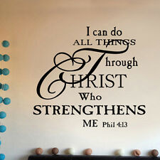 I Can Do All Things Through Christ Quote Vinyl Wall Stickers Decor Decal Words