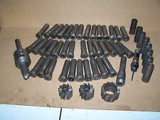 LARGE LOT OF 38 LATHE COLLET TOOLS W/ 3 DRILL BIT CHUCKS + OTHER ACCESORIES