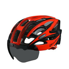 RockBros Cycling Helmets Road Bike MTB Riding Helmet With Black Goggle L/XL Red