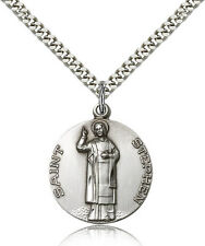 "Saint Stephen The Martyr Medal For Men - .925 Sterling Silver Necklace On 24""..."