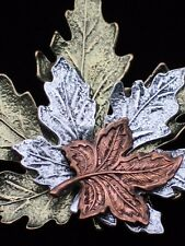 NWT KC BRONZE PEWTER FALL TRIPLE THREE BLOWING LEAVES LEAF PIN BROOCH JEWELRY