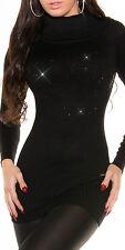 SeXy Long Rolli Pulli Pullover 34/36/38 Glamour strass schwarz Rollkragen NEU