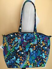 NWT Vera Bradley Floral MIDNIGHT BLUES Large Shopper Travel Tote Bag sold out