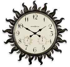 Metal Sun Wall Clock Modern Home Art Decor Large Indoor Outdoor Humidity & Temp