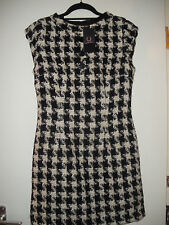 Amy Winehouse FRED PERRY Houndstooth Corbata Cuello Vestido Talla 12 bnwithouttag Raro