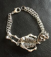 Skeleton Bracelet, 3D With Bow & Flower, Rockabilly, Steampunk, Day Of The Dead