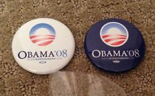 Barack Obama official 2008 Presidential campaign pin blue white button set