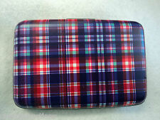 i PURPLE RED PLAID BUSINESS CARD HOLDER CASE ID credit security wallet rfid