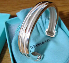 NEW Tiffany & Co. Grooved Cuff 48g+ Unisex Bangle Bracelet Sterling Silver 925