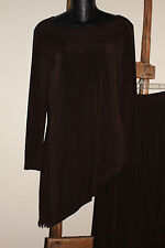 2 pc~CHICO'S Travelers~TRAVEL KNIT~Brown~SET~Asymetrical TOP & Pants~SIZE 0~S