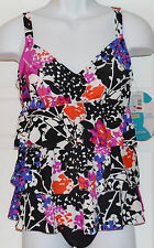 Swim Solutions Floral Tiered One-Piece Swimsuit Tummy Control Sz 12 Layered