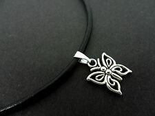 """A LADIES BLACK LEATHER CORD 13 - 14"""" CHOKER BUTTERFLY  NECKLACE. NEW."""