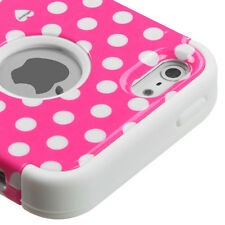 for iPhone SE 5S Pink Polka Dots Hybrid Armor Dual Layer Hard & Soft Rubber Case