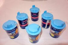 Lot of 6 New Cross Stitch Sippie Cups by Charles Craft Blue Tops Pattern Inc