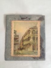Vintage LABRANCHE BLDG, La. Art Photo On Slate from Fire of 1795 M. Plauche