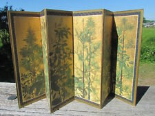 Dollhouse miniature large 6 panel screen room divider woodland theme gold back