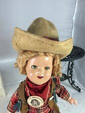 "1930s 11"" Ideal Shirley Temple Texas Ranger Composition Doll Cowgirl! Gun & Hat!"