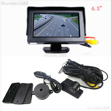 "Car Reverse Parking Camera With Radar Sensor System & 4.3"" LCD Rear View Monitor"