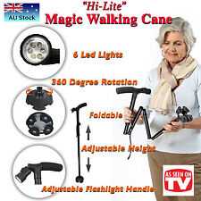Height Adjustable WALKING STICK Travel Folding Cane Metal Pole LED for Camping
