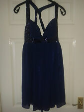 Womens Sleeveless Dress - Lipsy London - Navy Blue With Sequins - Size 10 UK