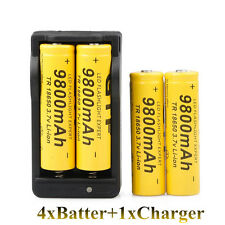2017 4PCS 9800mAh 18650 Rechargeable Battery Li-ion 3.7V Batteries + Charger